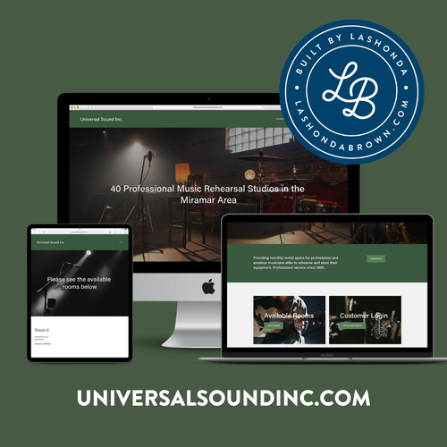 Music website with the title 'UNIVERSAL SOUND | Rehearsal Studios'