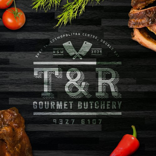 Gourmet logo with the title 'A Appealing & Luxurious logo for a high-end butchery.'
