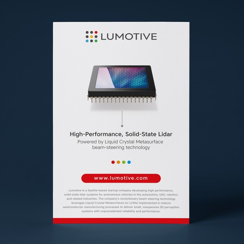 Ad design with the title 'Print ad for Lumotive [Red Version]'