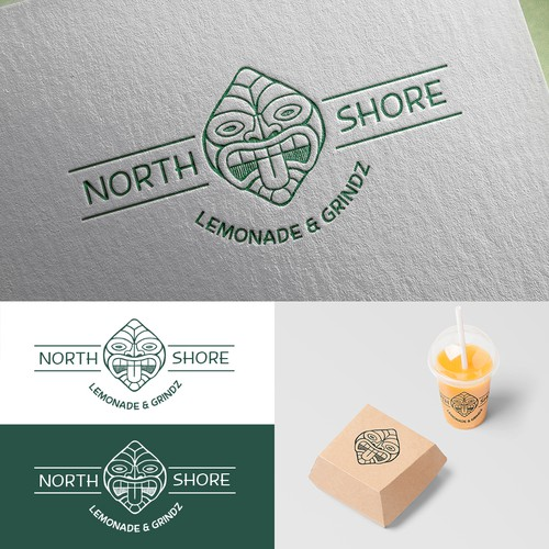 Lemonade design with the title 'Logo concept for North Shore Lemonade & Grindz'