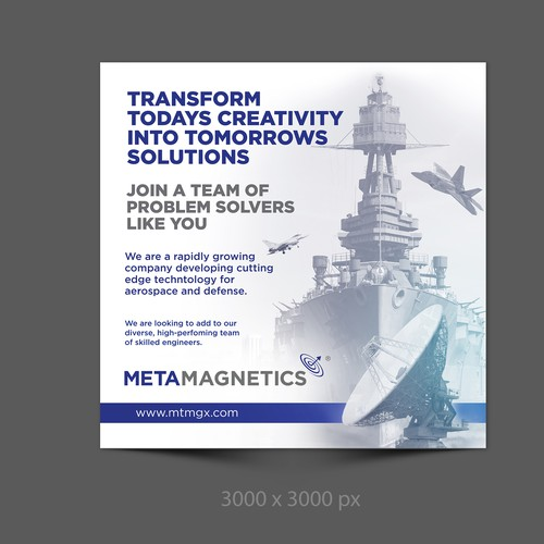 Navy design with the title 'Ad design for Metamagnetics'