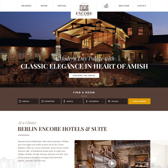 Brown website with the title 'Elegant design for Amish Hotel'