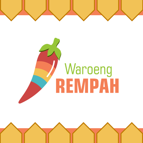 Fresh food logo with the title 'Rainbow Chili Logo for Restaurant'