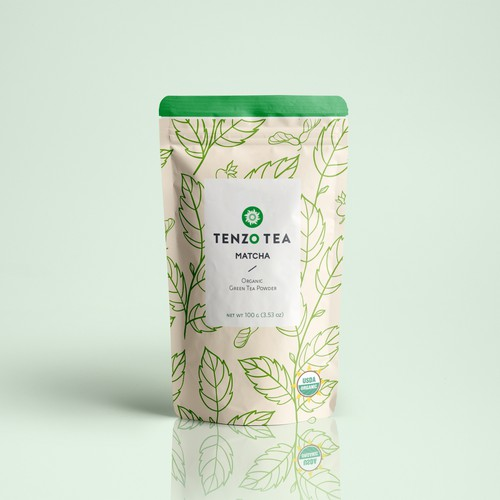 Matcha packaging with the title 'Tenzo Tea '