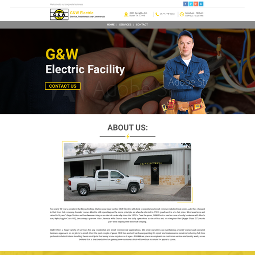 Banner website with the title 'Website Design for G&W Electric'