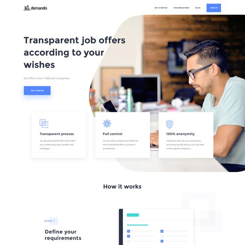 SaaS website with the title 'Web design for a recruitment marketplace'