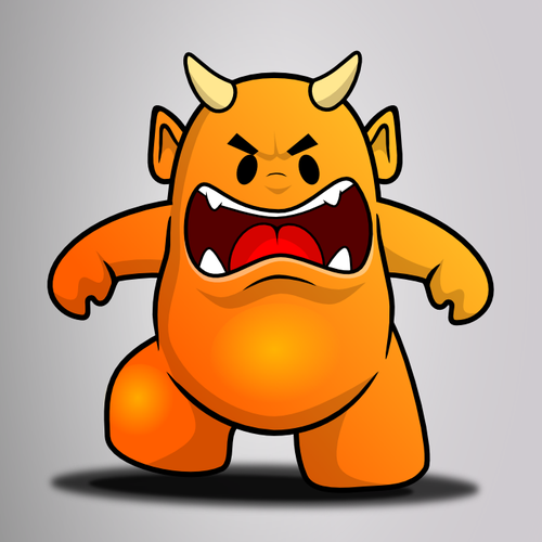 Monster artwork with the title 'Create 5 Unique Mascots for Dingaling-a Free International Calling/Messaging App'