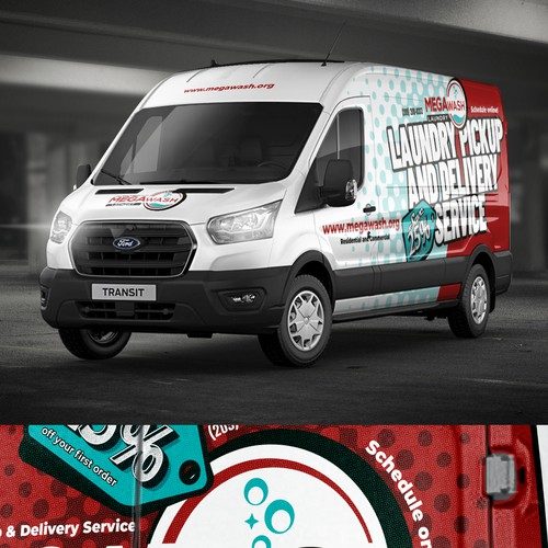 Ford design with the title ' Winning eye catching van wrap for a Laundry Delivery Van'