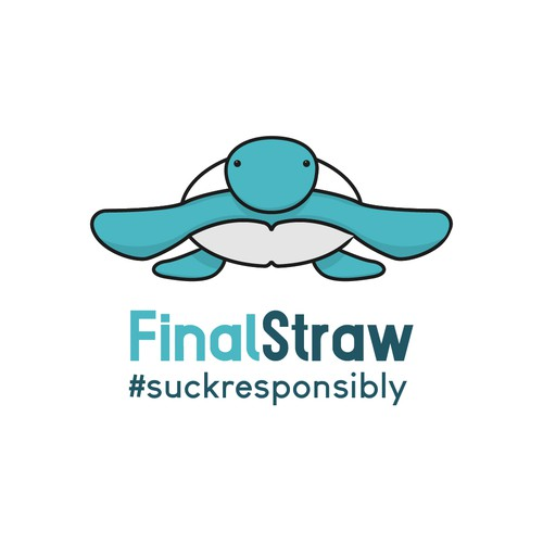 Sea turtle logo with the title 'Modern Logo for a Company which sells Reusable Straws'