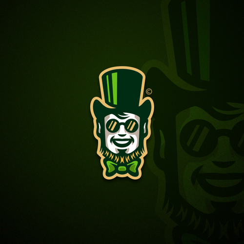 Magic wand logo with the title 'Leprechaun mascot'