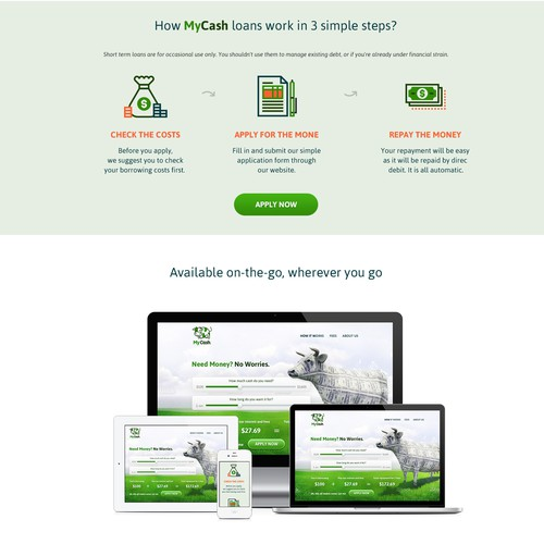 Money website with the title 'Website UI designer required for designing website main page!'
