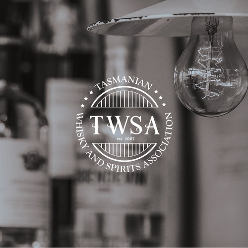 Aussie logo with the title 'Classic style whisky and spirits association logo'