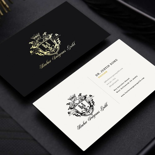 Rich design with the title 'Business Card Design for the Barber Surgeons Guild ~ Hollywood, CA.'