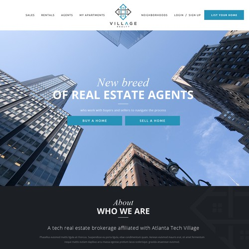 Real estate website with the title 'Village Realty'