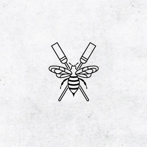 Minimal artwork with the title 'Minimalistic design with a bee'