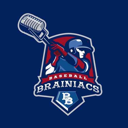 Sports apparel logo with the title 'Baseball Brainiacs'