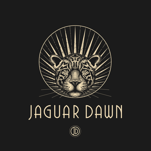 Art Deco logo with the title 'Logo design for Jaguar Dawn - dark glam accessories company.'