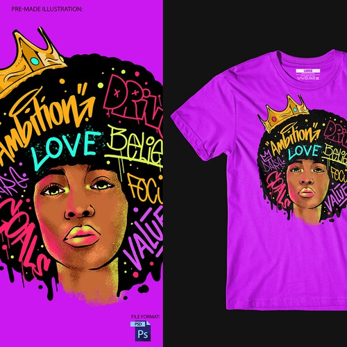 Africa t-shirt with the title 'Lady Afro'