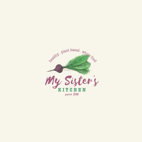 Vegetarian logo with the title 'Hand drawn art for a food blog'