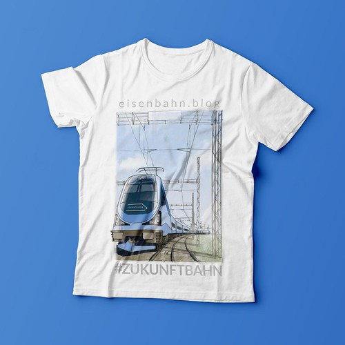 Railway design with the title 'Railway poster-like illustration for t-shirt'