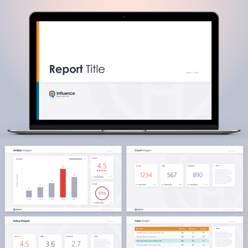 Report design with the title 'Report Widgets'