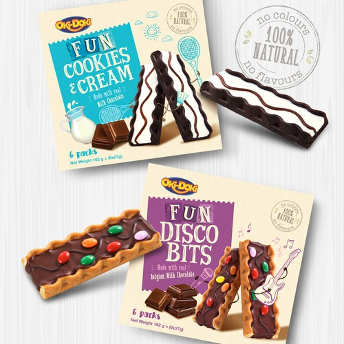 Snack packaging with the title 'FUN Cookies Bars for kids'
