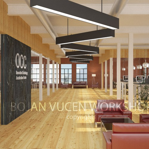 Architectural design artwork with the title 'Office Interior Design'