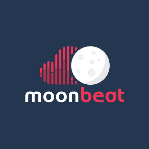"Beat logo with the title 'Logo for cloud based music library company ""Moon Beat""'"