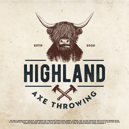 UK logo with the title 'Highland Axe Throwing Logo Design'
