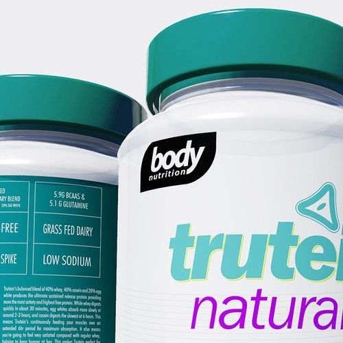 Nutrition packaging with the title 'Design a clean, contemporary label for a healthy, all-natural protein powder!'