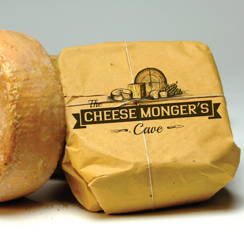 Food logo with the title 'The Cheese Monger's Cave needs a new logo'