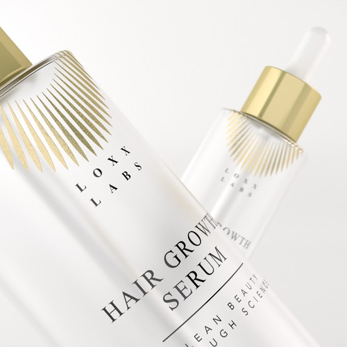 Mockup packaging with the title 'Luxury Cosmetic hair serum label design'