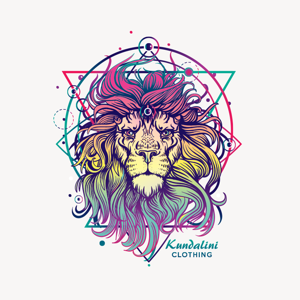 Art t-shirt with the title 'Neon Lion'