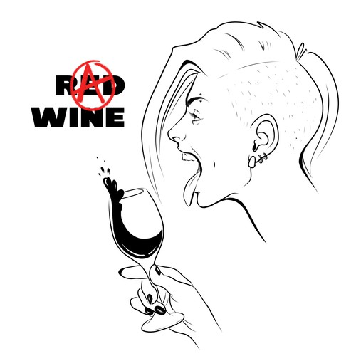 Wine t-shirt with the title 'Wine drinkers T-shirt design (female)'