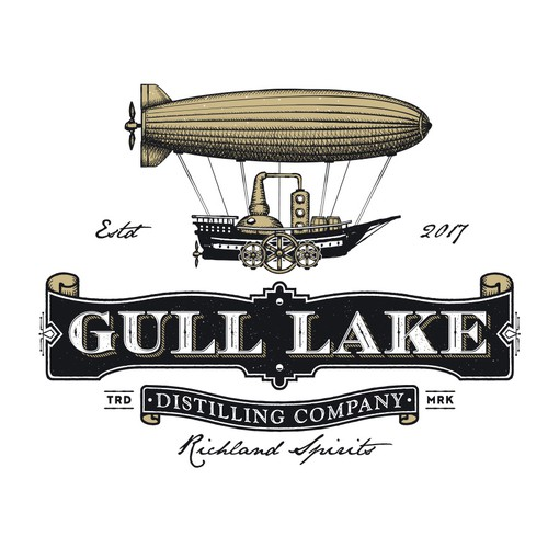 Distillery logo with the title 'Gull lake Distilling Company.'