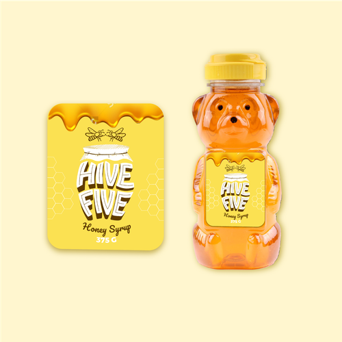 Yellow packaging with the title 'Honey Label Design with Custom Hand Lettering '