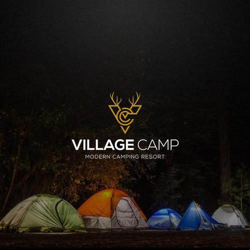 Village brand with the title 'MODERN CABIN & LODGING RESORT'