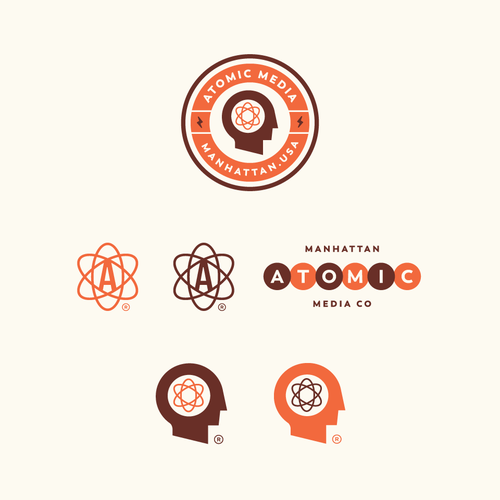 Hipster logo with the title 'Atomic media concepts '