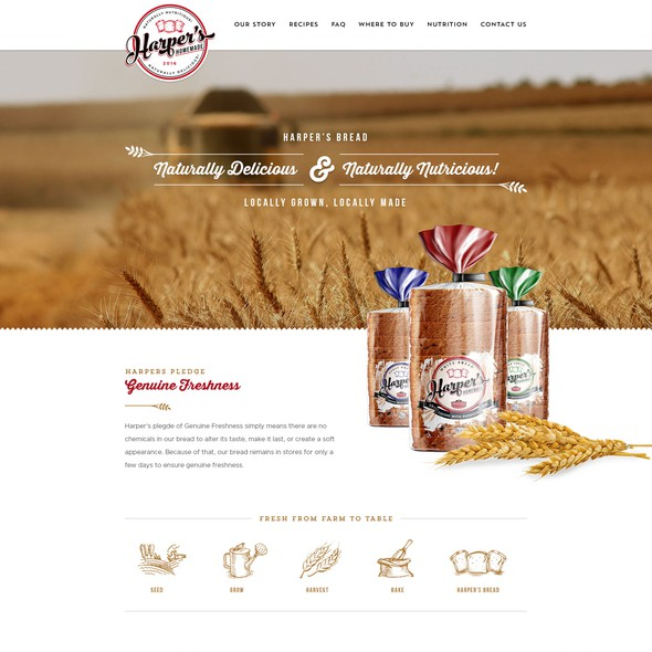 Bakery website with the title 'Webdesign for Harper's Homemade Bread'