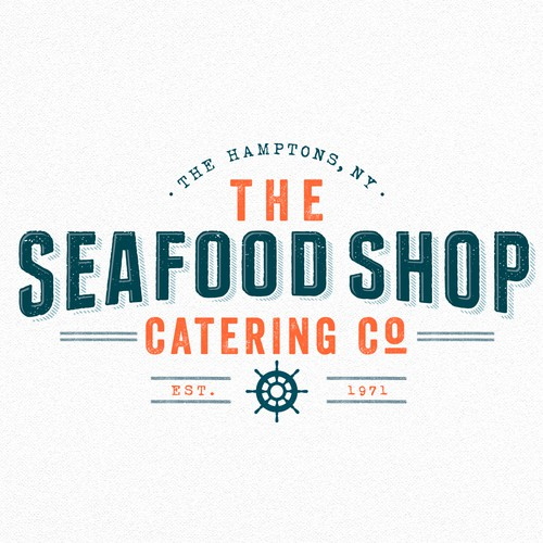 Seafood logo with the title 'Fish market catering logo'