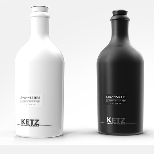3D label with the title 'KETS Spirits bottle design'