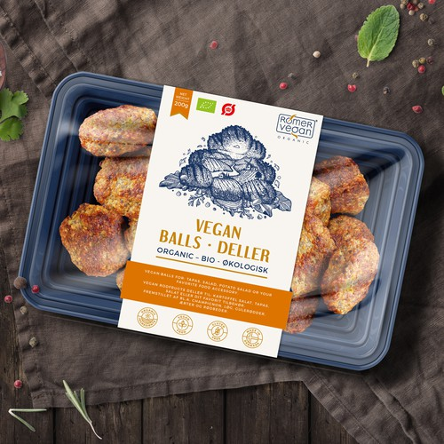 Luxurious label with the title 'Label design for Vegan Balls'