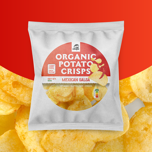 Chip design with the title 'Organic Potato Crisps - Available for Sale'