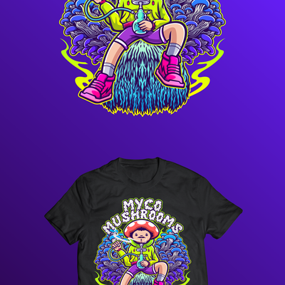 Mushrooms Throne Psychedelic T-shirt Illustration