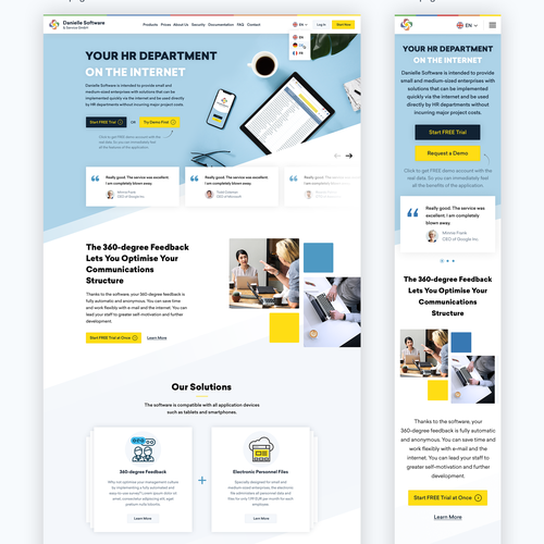 Mobile website with the title 'Home page responsive design'