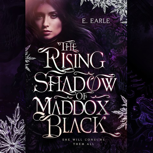 Dark fantasy book cover with the title 'THE RISING SHADOW OF MADDOX BLACK by E. Earle'
