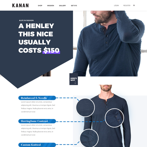 Fashion website with the title 'Kanan Landing page'