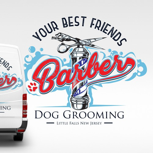 Pet shop design with the title 'your best friends Barber Dog Grooming'