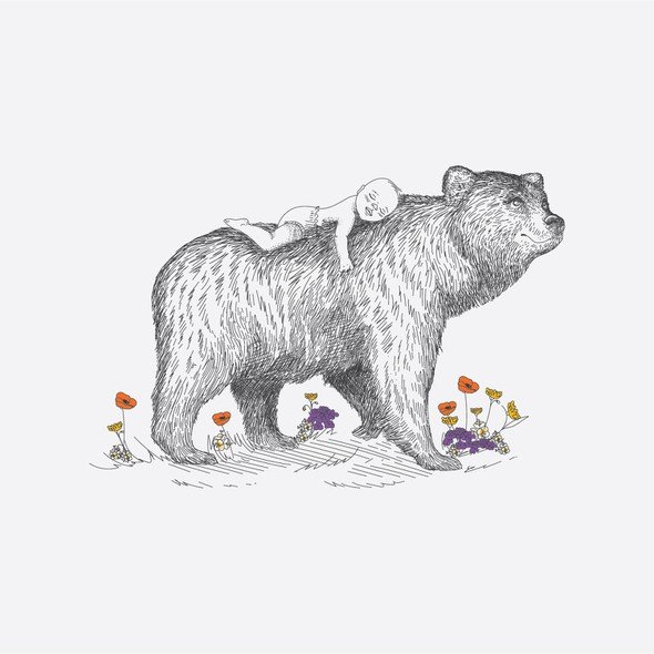 Baby artwork with the title 'Birth announcement Bear '