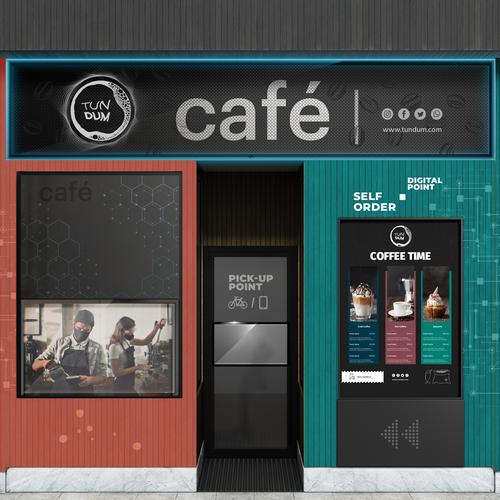 Facade design with the title 'Tech-Cool Coffee Shop Facade'